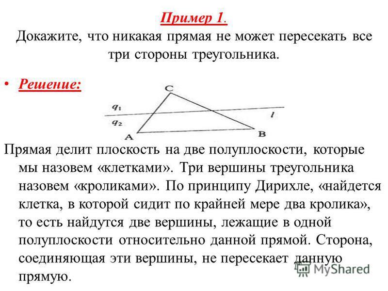 Пример 1. Докажите, что никакая прямая не может пересекать все три стороны треугольника. Решение: Прямая делит плоскость на две полуплоскости, которые мы назовем «клетками». Три вершины треугольника назовем «кроликами». По принципу Дирихле, «найдется