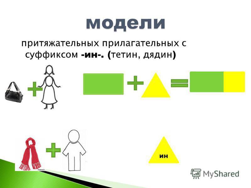 притяжателльных прилагателльных с суффиксом -ин-. ( тетин, дядин ) инин