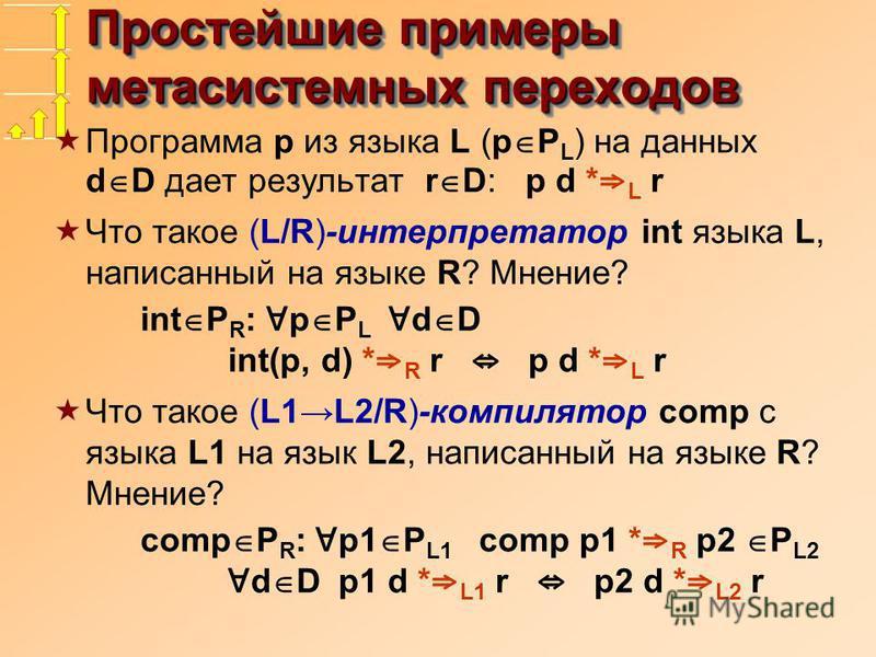Простейшие примеры мета системных переходов Программа p из языка L (p P L ) на данных d D дает результат r D: p d * L r Что такое (L/R)-интерпретатор int языка L, написанный на языке R? Мнение? int P R : p P L d D int(p, d) * R r p d * L r Что такое
