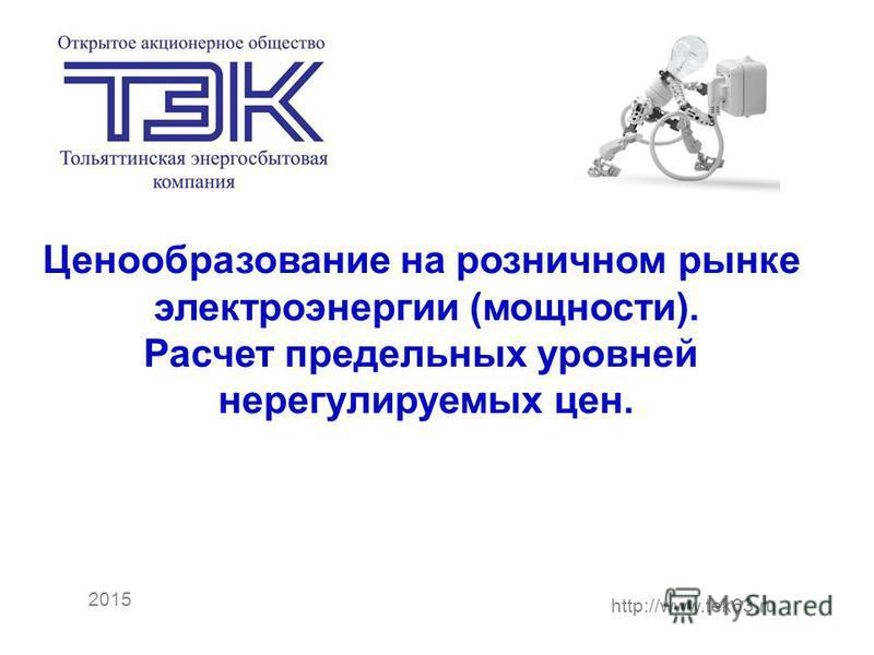 Рекомендации по выбору технических решений для АИИС ОРЭ э 2015 http://www.tek63. ru Ценообразование на розничном рынке электроэнергии (мощности). Расчет предельных уровней нерегулируемых цен.
