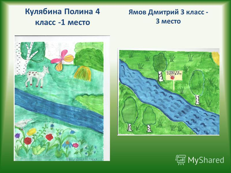 Кулябина Полина 4 класс -1 место Ямов Дмитрий 3 класс - 3 место