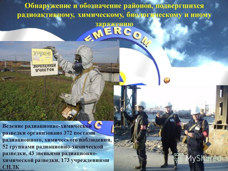 Обнаружение и обозначение районов, подвергшихся радиоактивному, химическому, биологическому и иному заражению Ведение радиационно-химической разведки организовано 372 постами радиационного, химического наблюдения, 52 группами радиационно-химической р