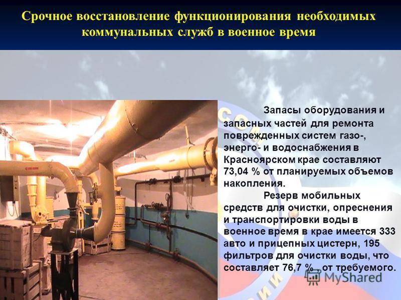 Срочное восстановление функционирования необходимых коммунальных служб в военное время Запасы оборудования и запасных частей для ремонта поврежденных систем газо-, энерго- и водоснабжения в Красноярском крае составляют 73,04 % от планируемых объемов