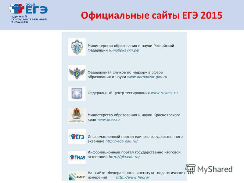 Официальные сайты ЕГЭ 2015
