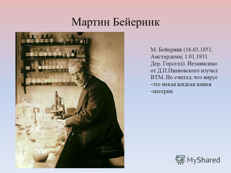 Мартин Бейеринк М. Бейеринк (16.03.1851, Амстердамм, 1.01.1931 Дер. Горселл). Независимо от Д.И.Ивановского изучал ВТМ. Но считал, что вирус -это некая жидкая живая -материя.