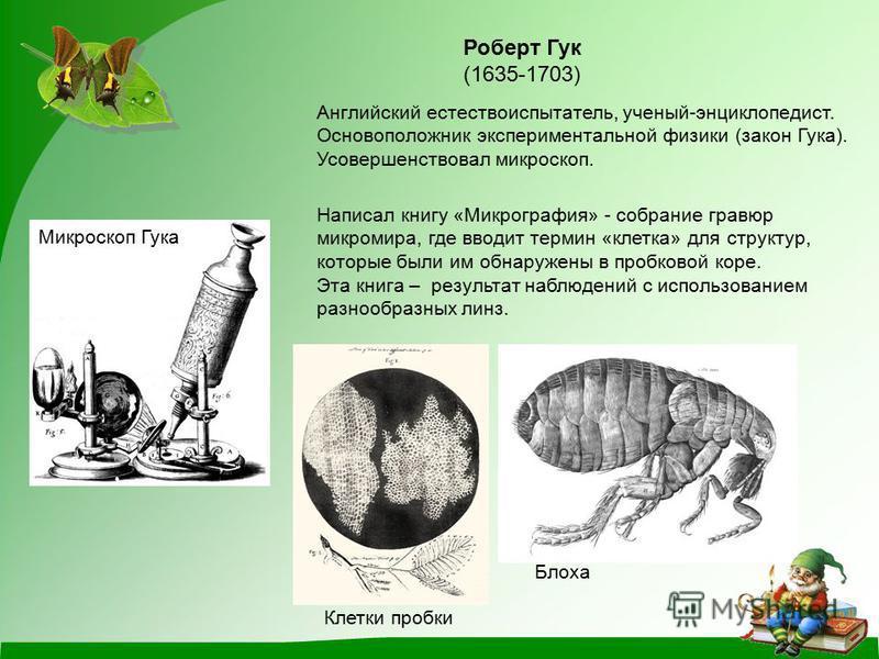 (1635-1703) Английский естествоиспытатель, ученый-энциклопедист. Основоположник экспериментальной физики (закон Гука). Усовершенствовал микроскоп. Микроскоп Гука Написал книгу «Микрография» - собрание гравюр микромира, где вводит термин «клетка» для