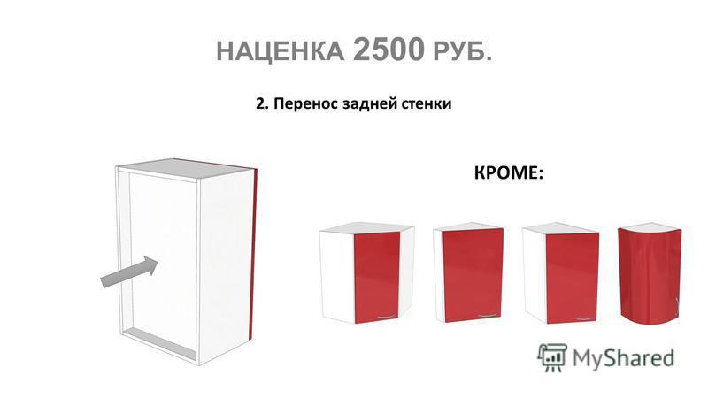 НАЦЕНКА 2500 РУБ. 2. Перенос задней стенки КРОМЕ: