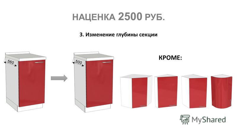 НАЦЕНКА 2500 РУБ. 3. Изменение глубины секции КРОМЕ: