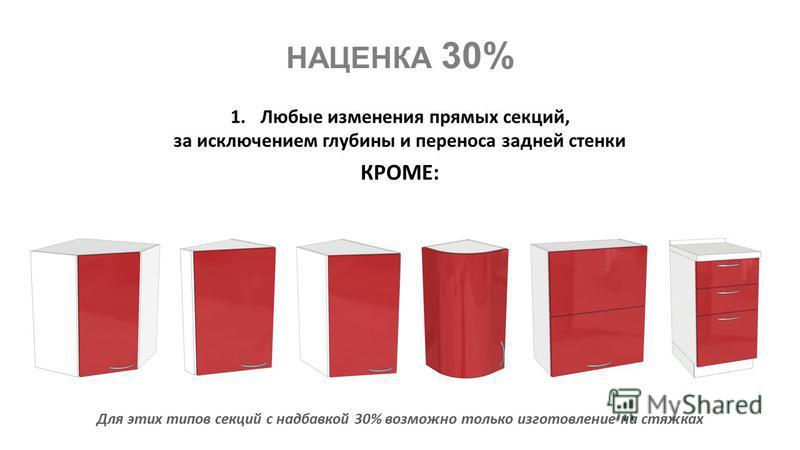 КРОМЕ: 1. Любые изменения прямых секций, за исключением глубины и переноса задней стенки Для этих типов секций с надбавкой 30% возможно только изготовление на стяжках НАЦЕНКА 30%