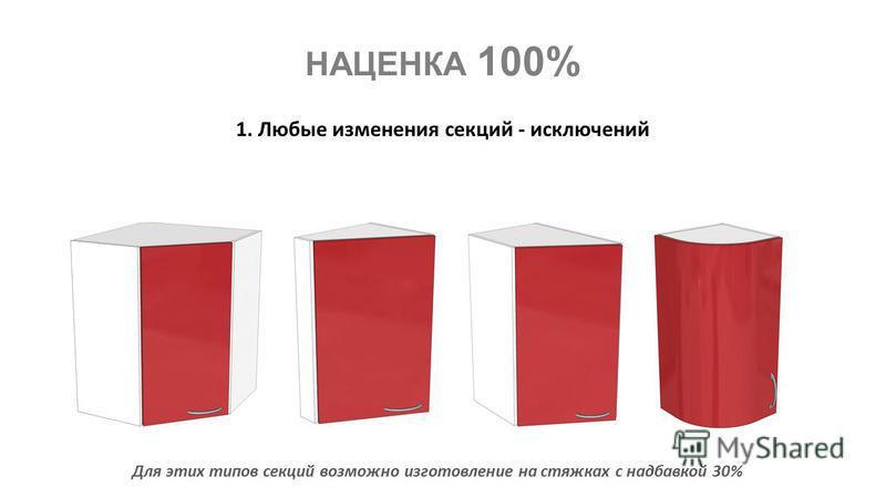 НАЦЕНКА 100% 1. Любые изменения секций - исключений Для этих типов секций возможно изготовление на стяжках с надбавкой 30%