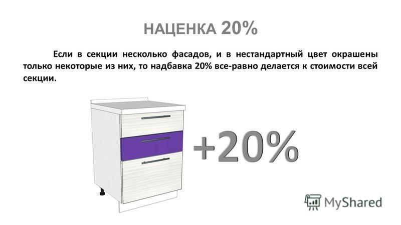 Если в секции несколько фасадов, и в нестандартный цвет окрашены только некоторые из них, то надбавка 20% все-равно делается к стоимости всей секции. НАЦЕНКА 20%