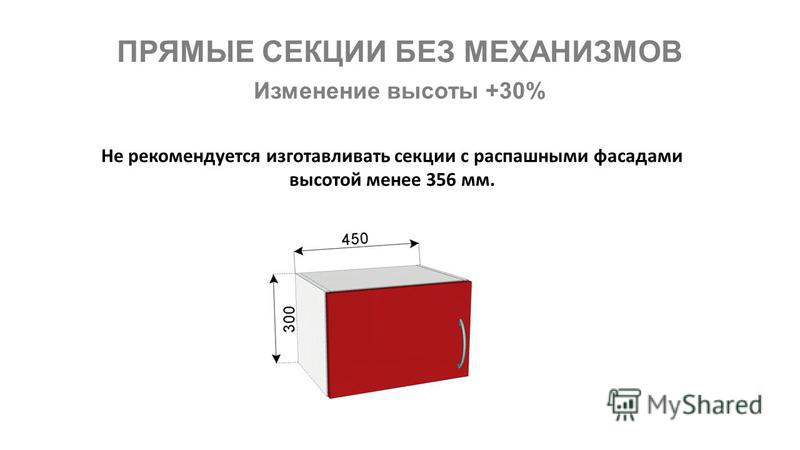 ПРЯМЫЕ СЕКЦИИ БЕЗ МЕХАНИЗМОВ Не рекомендуется изготавливать секции с распашными фасадами высотой менее 356 мм. Изменение высоты +30%