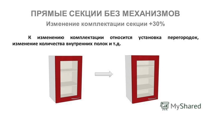 ПРЯМЫЕ СЕКЦИИ БЕЗ МЕХАНИЗМОВ Изменение комплектации секции +30% К изменению комплектации относится установка перегородок, изменение количества внутренних полок и т.д.
