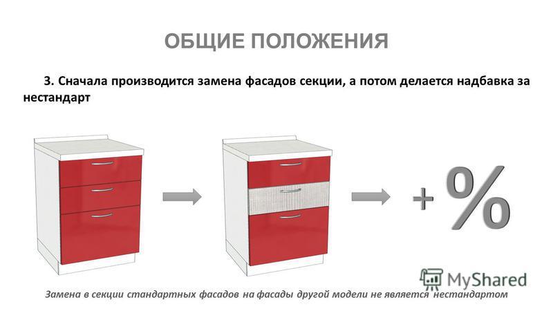 3. Сначала производится замена фасадов секции, а потом делается надбавка за нестандарт Замена в секции стандартных фасадов на фасады другой модели не является нестандартом