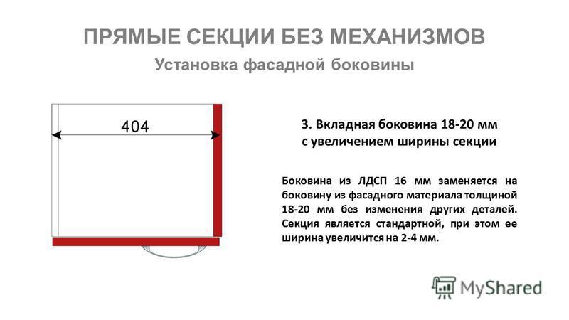 ПРЯМЫЕ СЕКЦИИ БЕЗ МЕХАНИЗМОВ Установка фасадной боковины Боковина из ЛДСП 16 мм заменяется на боковину из фасадного материала толщиной 18-20 мм без изменения других деталей. Секция является стандартной, при этом ее ширина увеличится на 2-4 мм. 3. Вкл