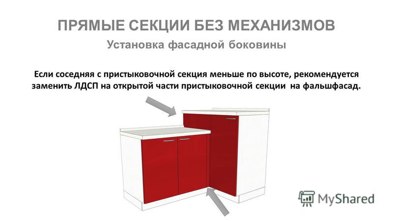 ПРЯМЫЕ СЕКЦИИ БЕЗ МЕХАНИЗМОВ Если соседняя с пристыковочной секция меньше по высоте, рекомендуется заменить ЛДСП на открытой части пристыковочной секции на фальшфасад. Установка фасадной боковины