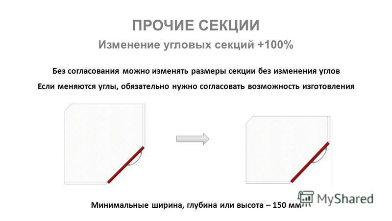 ПРОЧИЕ СЕКЦИИ Изменение угловых секций +100% Без согласования можно изменять размеры секции без изменения углов Если меняются углы, обязательно нужно согласовать возможность изготовления Минимальные ширина, глубина или высота – 150 мм