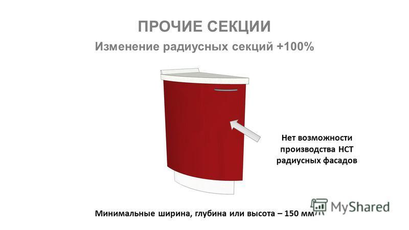 ПРОЧИЕ СЕКЦИИ Изменение радиусных секций +100% Нет возможности производства НСТ радиусных фасадов Минимальные ширина, глубина или высота – 150 мм