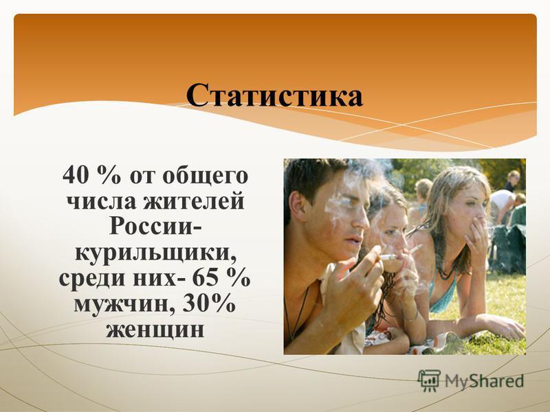 Статистика 40 % от общего числа жителей России- курильщики, среди них- 65 % мужчин, 30% женщин