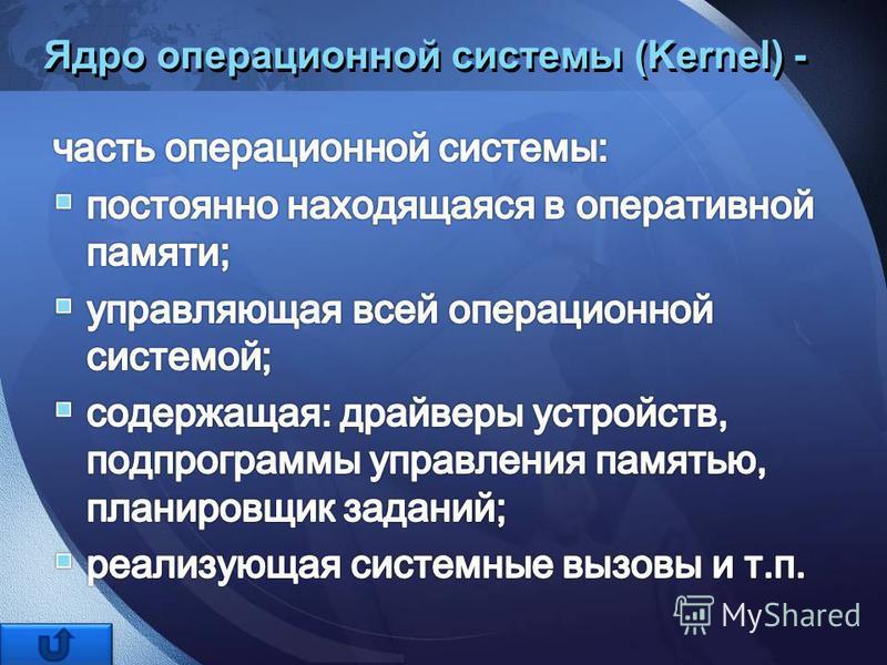 Ядро операционной системы (Kernel) -