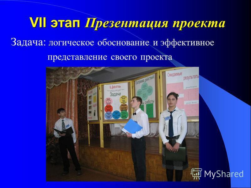 VII этап Презентация проекта Задача: логическое обоснование и эффективное представление своего проекта