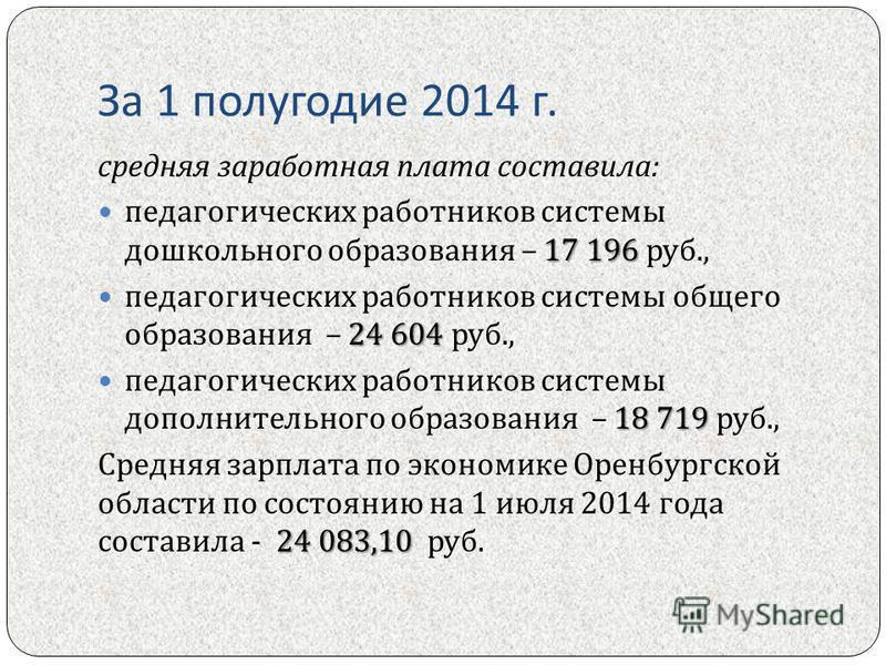 За 1 полугодие 2014 г. средняя заработная плата составила : 17 196 педагогических работников системы дошкольного образования – 17 196 руб., 24 604 педагогических работников системы общего образования – 24 604 руб., 18 719 педагогических работников си