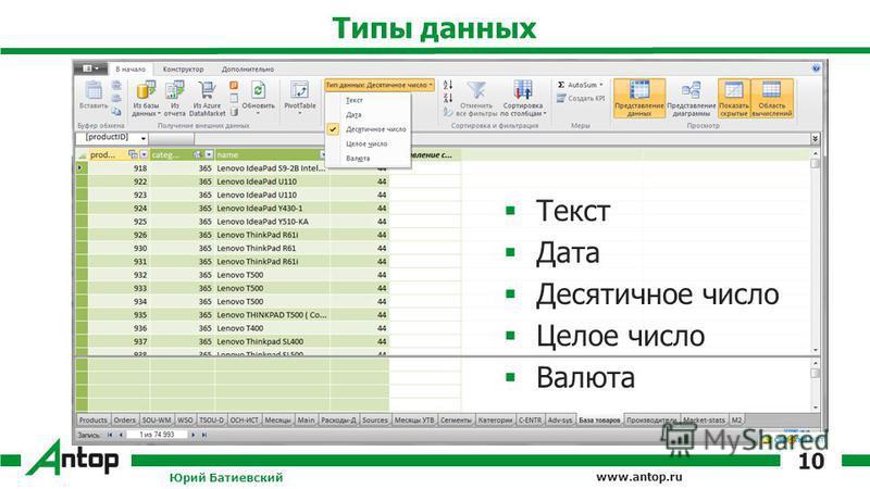 www.antop.ru Типы данных Юрий Батиевский 10 Текст Дата Десятичное число Целое число Валюта