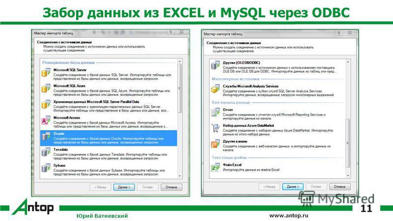 www.antop.ru Забор данных из EXCEL и MySQL через ODBC Юрий Батиевский 11