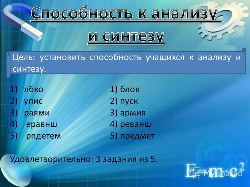 Цель: установить способность учащихся к анализу и синтезу. 1)локо 1) блок 2)апис 2) пуск 3)раями 3) армия 4) реванш 4) реванш 5) рпдетем 5) предмет Удовлетворительно: 3 задания из 5.