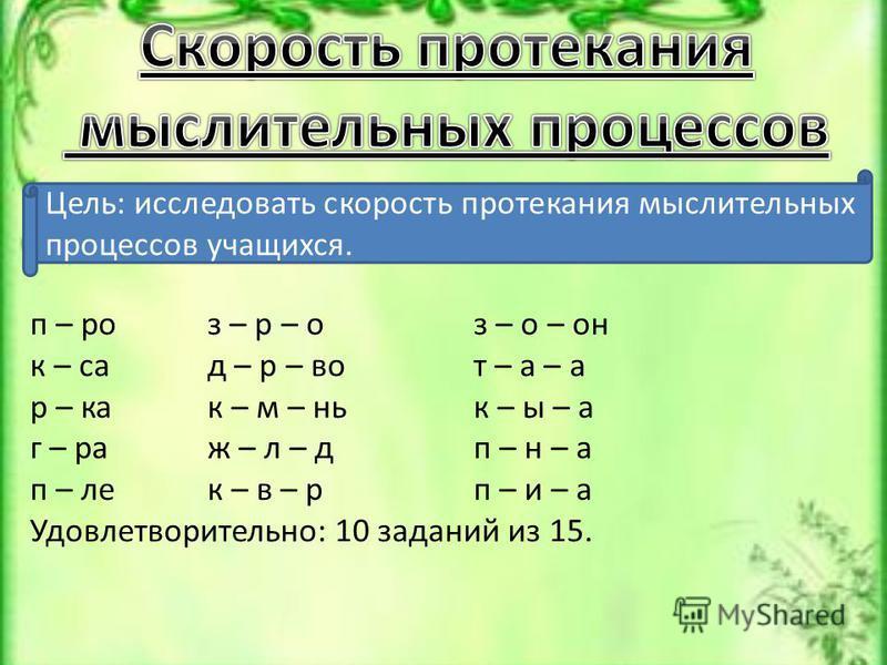 Цель: исследовать скорость протекания мыслительных процессов учащихся. п – роз – р – оз – о – он к – сад – р – вот – а – а р – как – м – ник – ы – а г – раж – л – дп – н – а п – лек – в – рп – и – а Удовлетворительно: 10 заданий из 15.