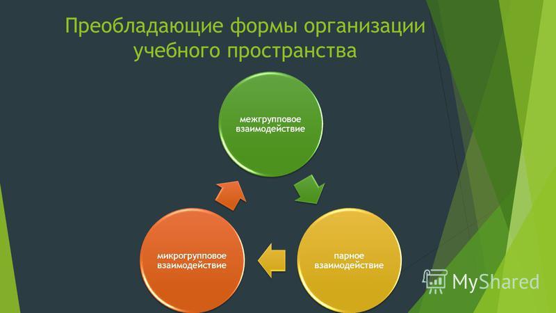 Преобладающие формы организации учебного пространства межгрупповое взаимодействие парное взаимодействие микро групповое взаимодействие