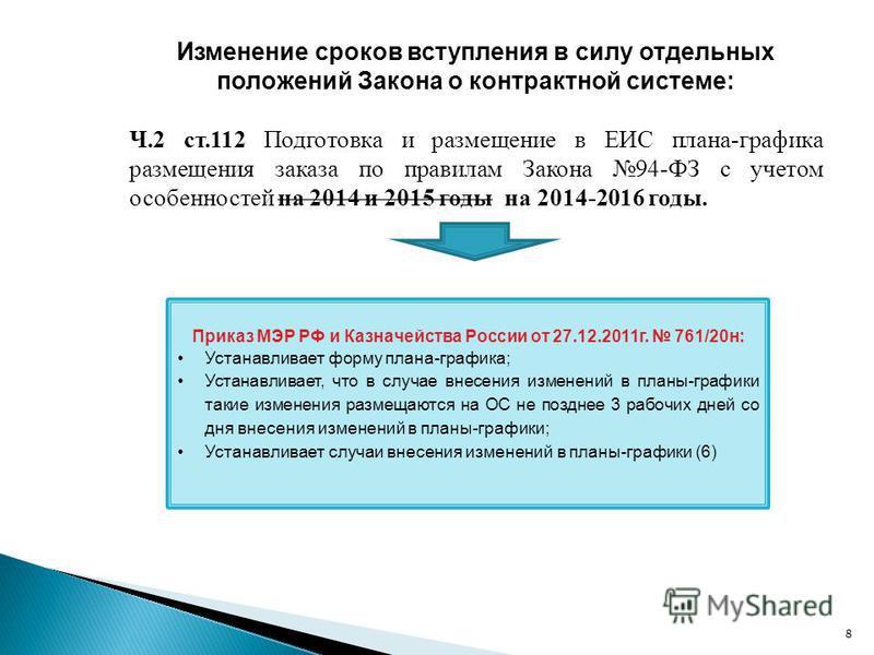 Изменение сроков вступления в силу отдельных положений Закона о контрактной системе: Ч.2 ст.112 Подготовка и размещение в ЕИС плана-графика размещения заказа по правилам Закона 94-ФЗ с учетом особенностей на 2014 и 2015 годы на 2014-2016 годы. 8 Прик