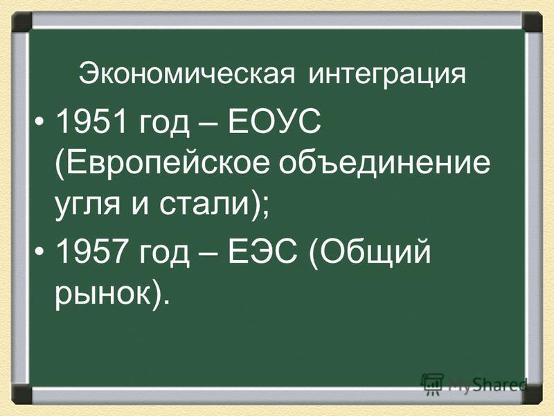 Экономическая интеграция 1951 год – ЕОУС (Европейское объединение угля и стали); 1957 год – ЕЭС (Общий рынок).