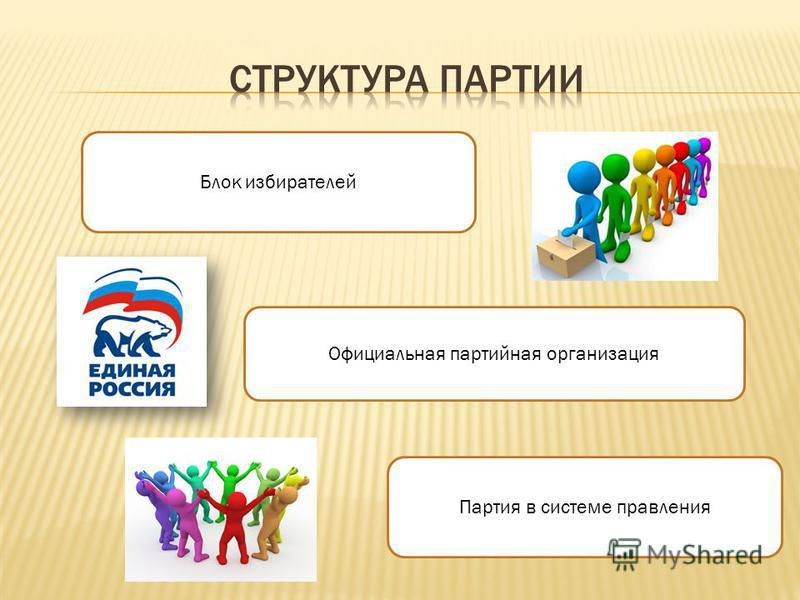 Блок избирателей Официальная партийная организация Партия в системе правления
