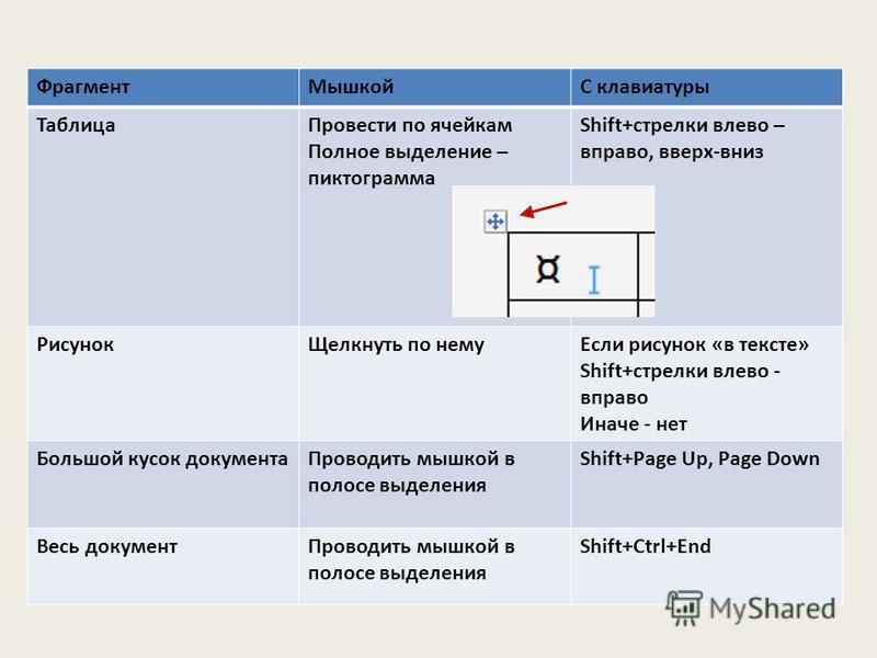 Фрагмент МышкойС клавиатуры Таблица Провести по ячейкам Полное выделение – пиктограмма Shift+стрелки влево – вправо, вверх-вниз Рисунок Щелкнуть по нему Если рисунок «в тексте» Shift+стрелки влево - вправо Иначе - нет Большой кусок документа Проводит