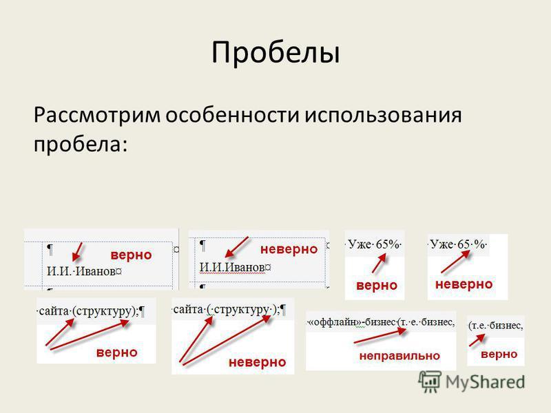 Пробелы Рассмотрим особенности использования пробела: