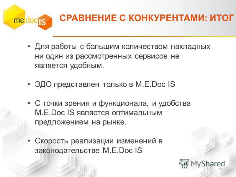 СРАВНЕНИЕ С КОНКУРЕНТАМИ: ИТОГ Для работы с большим количеством накладных ни один из рассмотренных сервисов не является удобным. ЭДО представлен только в M.E.Doc IS С точки зрения и функционала, и удобства M.E.Doc IS является оптимальным предложением