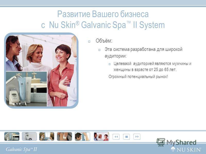Развитие Вашего бизнеса с Nu Skin ® Galvanic Spa II System Объём: Эта система разработана для широкой аудитории: Целеваой аудиторией являются мужчины и женщины в возрасте от 25 до 65 лет. Огромный потенциальный рынок!
