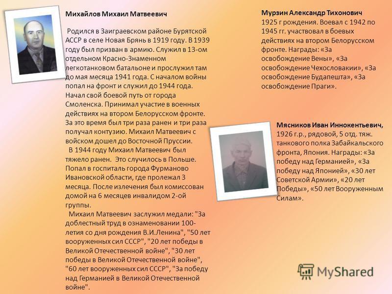 Михайлов Михаил Матвеевич Родился в Заиграевском районе Бурятской АССР в селе Новая Брянь в 1919 году. В 1939 году был призван в армию. Служил в 13-ом отдельном Красно-Знаменном легко танковом батальоне и прослужил там до мая месяца 1941 года. С нача