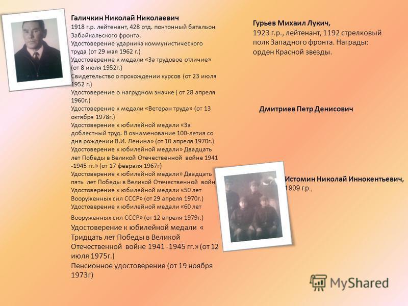 Галичкин Николай Николаевич 1918 г.р. лейтенант, 428 отд. понтонный батальон Забайкальского фронта. Удостоверение ударника коммунистического труда (от 29 мая 1962 г.) Удостоверение к медали «За трудовое отличие» (от 8 июля 1952 г.) Свидетельство о пр