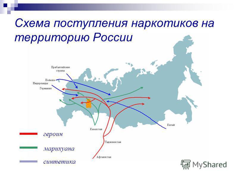 Схема поступления наркотиков на территорию России героин марихуана синтетика