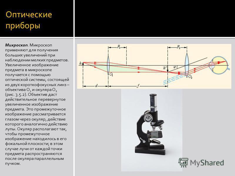 Оптические приборы Микроскоп. Микроскоп применяют для получения больших увеличений при наблюдении мелких предметов. Увеличенное изображение предмета в микроскопе получается с помощью оптической системы, состоящей из двух короткофокусных линз – объект