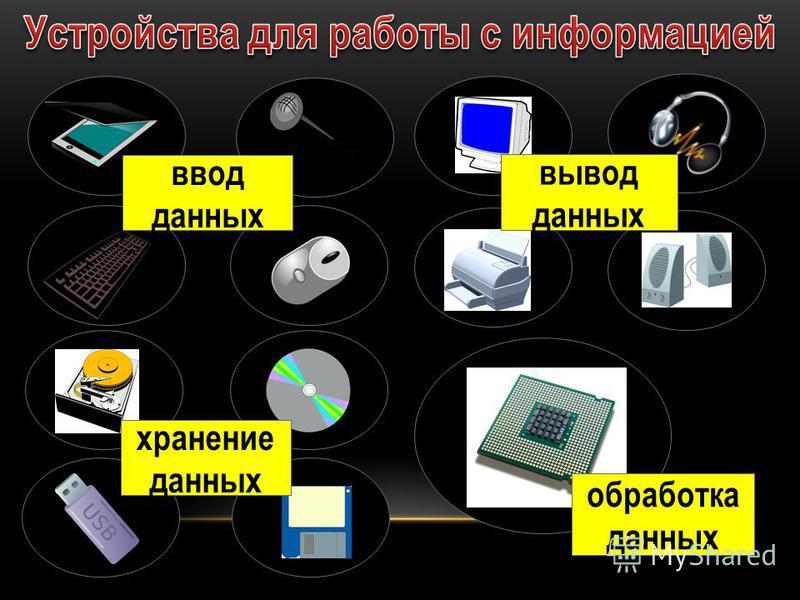 ввод данных хранение данных вывод данных обработка данных