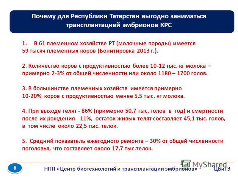 8 8 Почему для Республики Татарстан выгодно заниматься трансплантацией эмбрионов КРС 1. В 61 племенном хозяйстве РТ (молочные породы) имеется 59 тысяч племенных коров (Бонитировка 2013 г.). 2. Количество коров с продуктивностью более 10-12 тыс. кг мо
