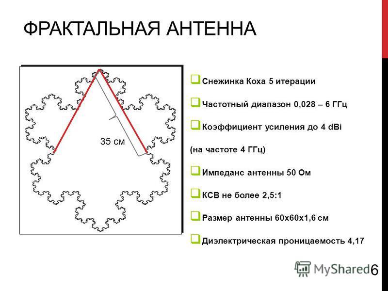 ФРАКТАЛЬНАЯ АНТЕННА 35 см Снежинка Коха 5 итерации Частотный диапазон 0,028 – 6 ГГц Коэффициент усиления до 4 dBi (на частоте 4 ГГц) Импеданс антенны 50 Ом КСВ не более 2,5:1 Размер антенны 60x60x1,6 см Диэлектрическая проницаемость 4,17 6