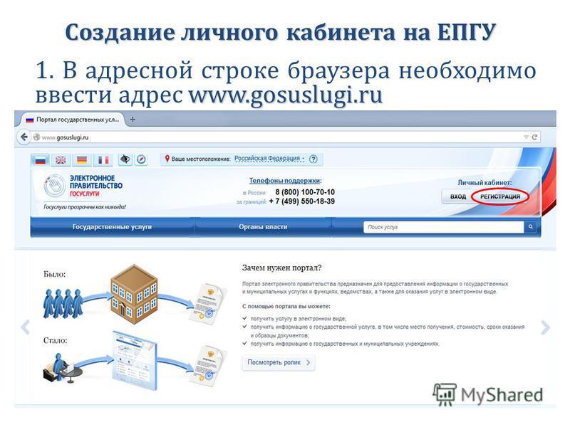 Создание личного кабинета на ЕПГУ www.gosuslugi.ru 1. В адресной строке браузера необходимо ввести адрес www.gosuslugi.ru