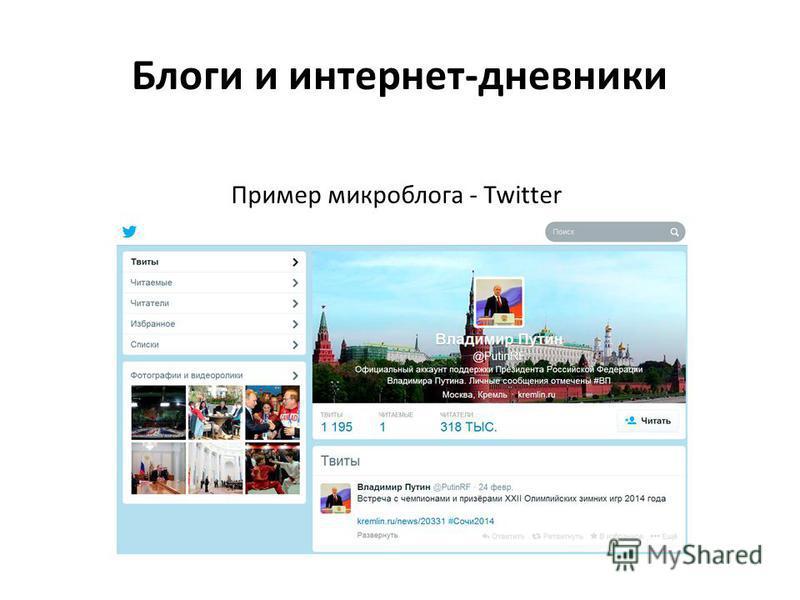 Блоги и интернет-дневники Пример микроблога - Twitter