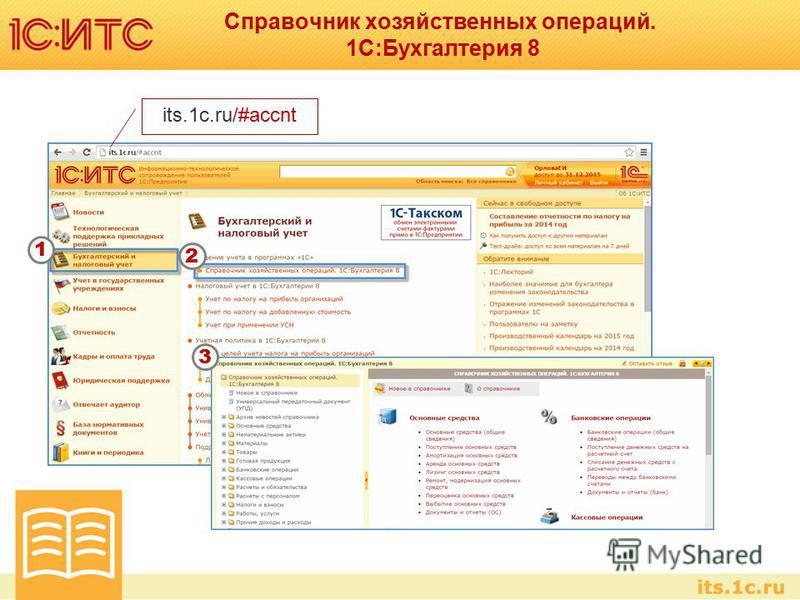 Справочник хозяйственных операций. 1С:Бухгалтерия 8 1 2 3 its.1c.ru/#accnt