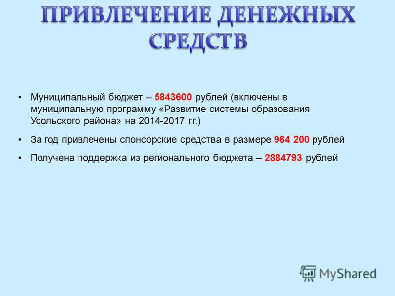 Муниципальный бюджет – 5843600 рублей (включены в муниципальную программу «Развитие системы образования Усольского района» на 2014-2017 гг.) За год привлечены спонсорские средства в размере 964 200 рублей Получена поддержка из регионального бюджета –