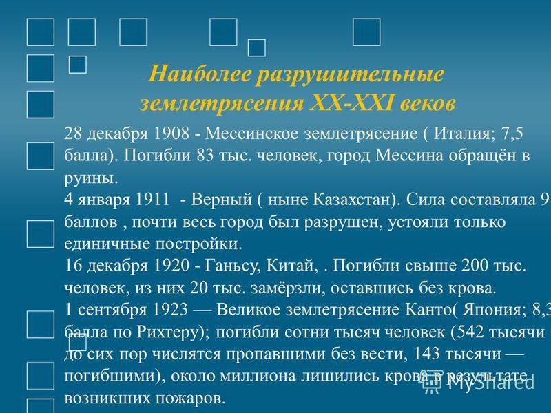 Наиболее разрушительные землетрясения XX-XXI веков 28 декабря 1908 - Мессинское землетрясение ( Италия; 7,5 балла). Погибли 83 тыс. человек, город Мессина обращён в руины. 4 января 1911 - Верный ( ныне Казахстан). Сила составляла 9 баллов, почти весь
